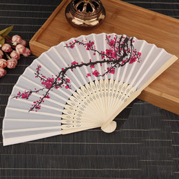 Wholesale Small Portable Fans Wholesale - Elegant Cherry blossoms Small Hand Held Fan White Portable Chinese Silk Folding Fan Ladies Wedding Favors Fans 10pcs lot