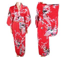 2019 kimono japonés caliente Venta caliente de las mujeres japonesas de satén de seda Kimono vestido de noche Yukata flores un tamaño envío gratis H007 kimono japonés caliente baratos