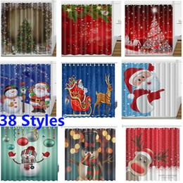 Cortina de navidad de diseño online-3D Navidad cortina de ducha impermeable tela de poliéster cortina de baño XMAS decoración 13 diseños 165 * 180cm 38 diseños HH7-230