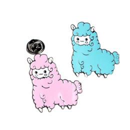 Blaue brosche stifte online-Cartoon Tier schöne kleine Schafe Alpaka Brosche Button Pins rosa blaue Brosche Denim Kleidung Pin Badge Geschenk Cartoon Schmuck