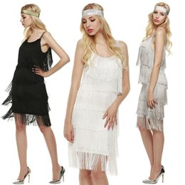 Wholesale white flapper - Fashion Women Straps Dress Tassels Glam Party Dress Gatsby Fringe Flapper Costume Dress