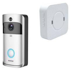 video real Rebajas EKEN Home Video Timbre inalámbrico 2 720P HD Wifi Video en tiempo real Audio bidireccional Visión nocturna PIR Detección de movimiento con campanas 1PCS / LOT