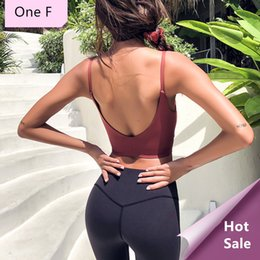 9609998f26e38 One F Thin Strapes Sports Bra For Women Gym Wireless Medium Impact Ballet  Crop Top Sexy Open Back Fitness Yoga Bralette 2018