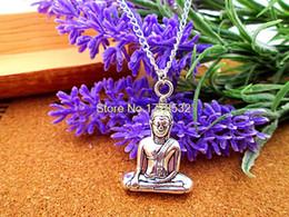 Wholesale Yoga Meditation Pendant - whole salefashion 35*22*8mm silver tone Meditating Buddha Meditation Yoga Sitting Buddha pendant necklace