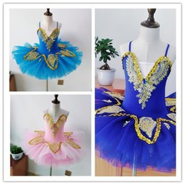 Traje de cisne online-Profesional White Swan Lake Ballet Tutu Costume Girls Ballerina Dress Kids Ballet Dress Dancewear Vestido de baile para niñas 3 colores 010