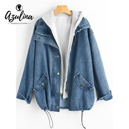 af685d7a867d 2019 NEW AZULINA Button Up Hooded Denim Jacket Women Coat 2018 Autumn  Winter Jeans Jackets Female Casual Outwear Wide-Waisted Long Tops