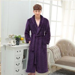 7af32f27e4 New Long Robe Men Robes Couples Sleepwear Autumn Winter Thickening Coral  Fleece Flannel Bathrobes Sexy Nightgown inexpensive sexy couple sleepwear