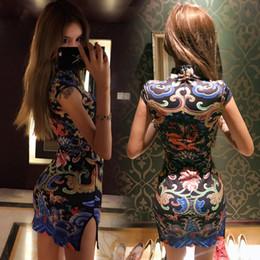 Wholesale Sexy Cheongsam Mini - 2018 new women's fashion Nightclub sexy print was thin short tight breeches hip split cheongsam Ms. dress