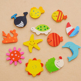 fridge magnetic toys Promo Codes - Digital Colorful Cartoon Fridge Magnets Star Fish Dolphin Sea Creature Animal Design Wooden Refrigerator Sitcker For Kid Teaching Kids Toys