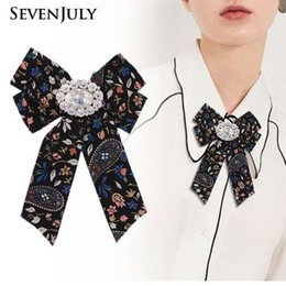 acessórios florais china Desconto Broche de Lona Floral tecido Vintage Bowknot Pin Tie Gravata Corsage Strass Cristal Blusa Mulheres Roupas Vestido Acessórios