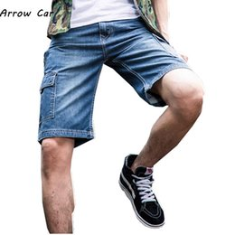 Modest 2019 New Summer Mens Denim Shorts Good Quality Short Jeans Men Cotton Solid Straight Short Jeans Male Blue Casual Short Jeans Fashionable Patterns Jeans
