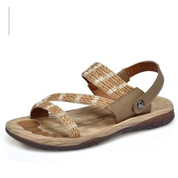 Wholesale Nice Sandals - Nice 2161 Summer Men Sandals British Special Weaved Straw + Cow Leather Back Strap Wood Texture Sole Men Beach Sandals