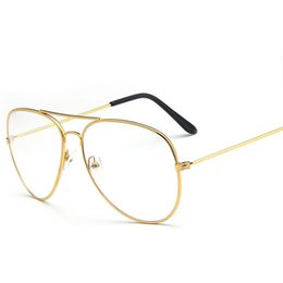Wholesale Lazy Glasses - Unisex Fashion pilot metal lazy glasses frame Large frame retro Reading Glasses Ultralight literature Plain mirror men women