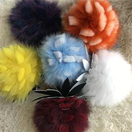 Wholesale Keychain Purse Charm - Real Fox Rabbit Fur Ball Pineapple Fruits Charm Flower Bag Keychain Purse Tassel