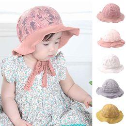 5e35bdef61a Kid Baby Lace Ruched Sun Bonnet Hat Kids Helmet Fisherman Sunscreen Cap baby  accessories photographed czapki dla dzieci