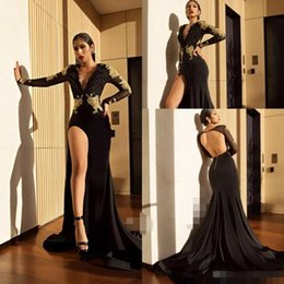 Wholesale Sexy Girls Spandex - Prom Dresses 2018 Formal Evening Party Pageant Gowns African Backless Sheer Neck Long Sleeve Yousef Aljasmi Dubai Arbic Black Girl Cheap