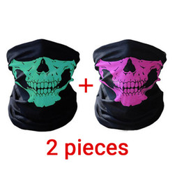 Wholesale bikers masks - Riding Mask Bicycle Outdoor Sports Summer 2 Pieces Skull Ghost Maske Biker Motor Face Shield Windproof Outdoor Face Masks Scarf