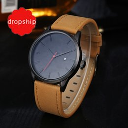 Wholesale pin ups - 2017 Fashion Casual Mens Watches Top Brand Luxury Leather Business Quartz-Watch Men Wristwatch Relogio Masculino For dropshippin