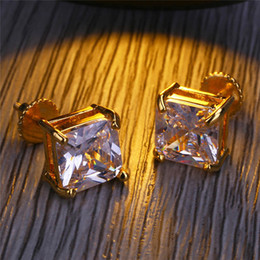 Wholesale Mens Earrings Wholesale - Luxury Hiphop Earring For Mens Gold Plated Hip Hop Screw Back Earrings Brilliant CZ Ear Stud Jewelry Hot Sale