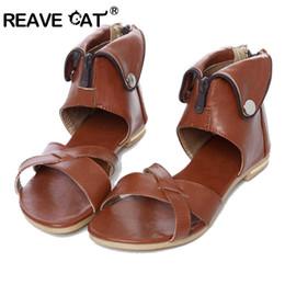 Eleganti scarpe beige online-REAVE CAT Big Size 33-43 Brand New Rome Sandali donna Sexy moda elegante con paillettes Cover Heel Beige Nero Marrone Scarpe bianche Zip