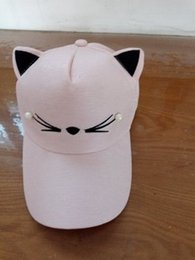 Wholesale pearls baseball cap - Summer Korean cat pearl ears baseball hats women casual cap has ears It can be adjusted to fit number choice: adjustable (55-61cm)