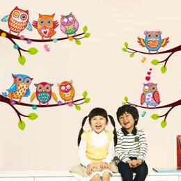 2019 etiquetas do quarto da coruja 60x45 cm diy pvc bonito coruja adesivo de parede sala de criança quarto jardim de infância sala de aula decoração auto-adesivo decalques vinil art mural etiquetas do quarto da coruja barato