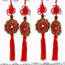 Suerte feng shui online-2018 Nudo chino rojo FENG SHUI Juego de 10 amuleto de la suerte Rey antiguo I CHING Monedas Protección de la prosperidad Suerte de buena suerte Decoración del auto en el hogar