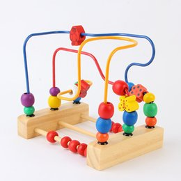 Wholesale Wooden Toys Bead Maze - Wholesale- Arpa Wooden Three Metal Line Bead Maze Butterfly And Flowers Mini Rollercoaster Wire Maze Classic Baby Developmental Toy