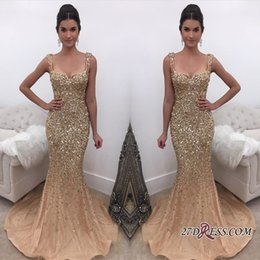 Wholesale Mermaid Prom Dresses Online - Luxury Sparkly Elegant Straps Crystal Mermaid Prom Dresses 2018 New Arrival Gold Evening Dress Online Formal Wear