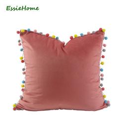 Wholesale Pink Roses Pillow Cases - wholesale Cushion Cover Pillow Case Pink Rose Pink Cute Soft Velvet Pom Pom TrimTassel Lovely Children's Room Decoration