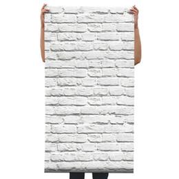 Décor de papier peint de papier peint de briques blanches 3D gris vinyle ? partir de fabricateur
