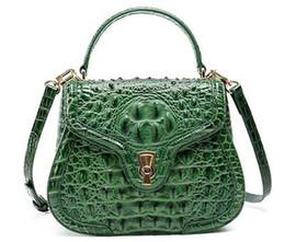 Wholesale Leather Skin Lady - High-grade 2018 New Women Aligator Messenger Crossbody Genuine Leather Bags Shoulder Handbag Lady Crocodile skin Bag Q1026
