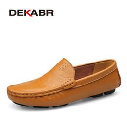 Wholesale comfy shoe brands - DEKABR Big Size 36~50 High Quality Genuine Leather Men Shoes Soft Moccasins Loafers Fashion Brand Men Flats Comfy Driving Shoes