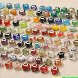 Wholesale Cross Murano Necklace - Fascinating Murano 5mm Hole-diameter DIY Jewelry 100 Designs Glass Loose Beads Crystal European Bead For Bracelets Necklaces