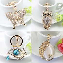 Wholesale Turtles Charms - White Butterfly Turtle Pendant Charm Rhinestone Crystal Purse Bag Keyring Key Chain Accessories Wedding Party Lover Friend Gift