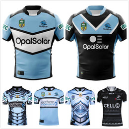 Wholesale Hero Blue - Free Shipping 2018 Sharks Rugby Jersey Maillot New Zealand 17 18 19 NRL Hero Edition Rugby League Cronulla Sutherland Sharks Rugby Shirts