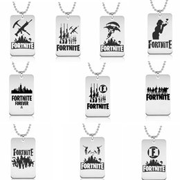 Wholesale wholesale jewelry stainless steel chains - Fortnite Necklace10 Designs Fortnite Logo Stainless steel Pendant Laser Printing Metal key chain Jewelry Kids toy GGA602 60PCS