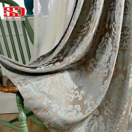 2019 tecidos de damasco Janela 4 cores Damasco Cortinas Para Sala de estar Cortinas Cego Painel Da Janela Cortina De Tecido Para O Quarto De Sombreamento 70% Personalizado tecidos de damasco barato