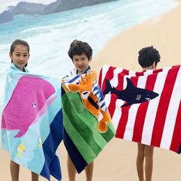 Wholesale towelling beach robes children - High quality 15 styles Dinosaur Mermaid crocodile bath towel Kids stripe Beach towel cartoon animal Towels Children Robes Beach mat C4252
