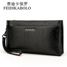 Wholesale large leather clutch bags - FEIDIKABOLO Brand Zipper Men Wallets with Phone Bag PU Leather Clutch Wallet Large Capacity Casual Long Business Men's Wallets