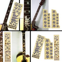 Incrustación de guitarra eléctrica acústica online-Alta calidad 1 unid guitarra acústica eléctrica incrustación pegatina fretboard marcadores calcomanía Guitarra pegatinas instrumentos accesorios envío gratis