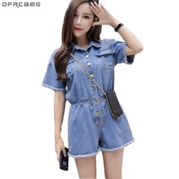 beaea04d07c 2018 New Summer Wide Leg Jumpsuit Shorts Casual Short Sleeve Denim Rompers  Loose Women Playsuit Blue Button Jeans Overalls Femme