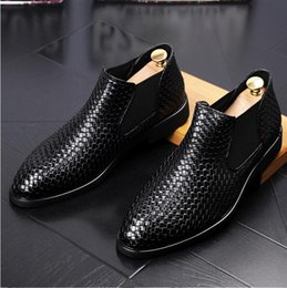 Wholesale High Fashion Dress Men Boots - 2018 Hot style British men short boots high help weave wingtip shoes stylist fashion casual shoe Male Wedding dress shoes N39