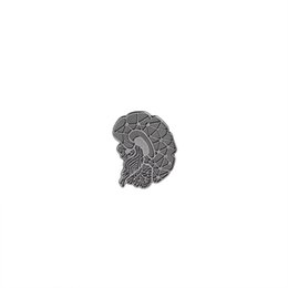 asian woman clothes Promo Codes - vintage Brain Brooches Pins Cartoon Human Organs Medical Brain lapel pin badge Enamel Lapel Pins Women Girl denim Clothing hat
