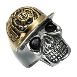 Wholesale Mens Sterling Silver Biker Rings - Punk Baseball Cap Mens Ring Biker Biker Titanium Stainless Steel Gothic Skeleton Skull Ring for Men Jewelry