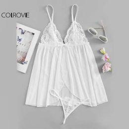 Tanga sexy das meninas brancas on-line-COLROVIE Contraste Rendas Deslizamento Vestido Com T-Back Thong Girls Branco Simples Nightgowns Mulheres Sexy Summer Sleepwear