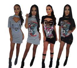 Wholesale offset mini - 2018 new women bandage dress fashion Offset burning flowers Club t-shirt Dress ladies mini vestido Hanging neck Bodycon dress