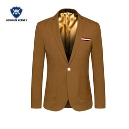 Wholesale Cheap Blazers Jackets - Autumn Casual Blue Suit Jacket Stylish Slim Man Luxury Clothing Green Party Suit Business Dress Cheap Wedding Blazers Mens Coat
