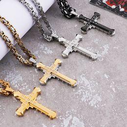 grands colliers croisés Promotion 28 '' 5mm en acier inoxydable Knight Large Crystals Cross Pendentif Collier byzantin Pendentif 28 * 50mm collier
