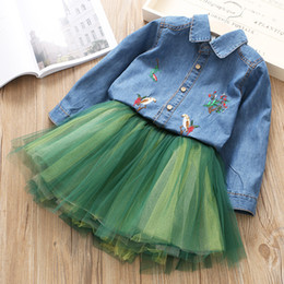 Wholesale New Skirts Denim Fashion - Everweekend Kids Girls 2pcs Denim Top and Tutu Skirt Outfits New Western Fashion Spring Embroidered Top Sets Skirt